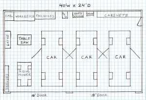 Four Car Garage Plan Sketch