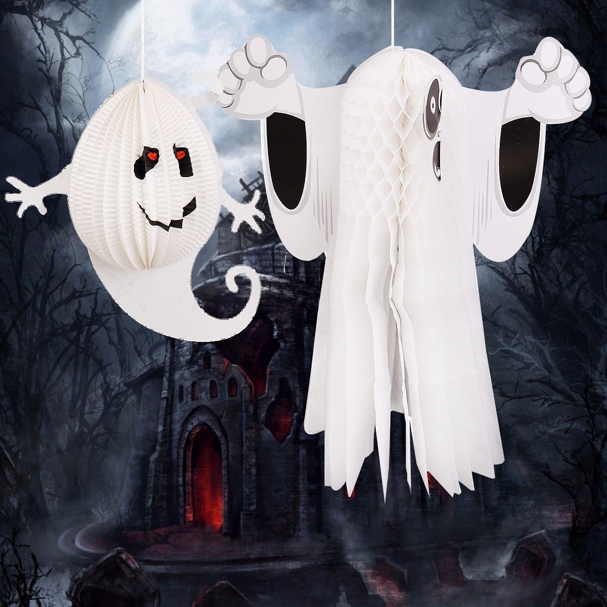 Paper Hanging Ghost Window Door Hanger Halloween Party Decoration - Ghost Halloween Decorations