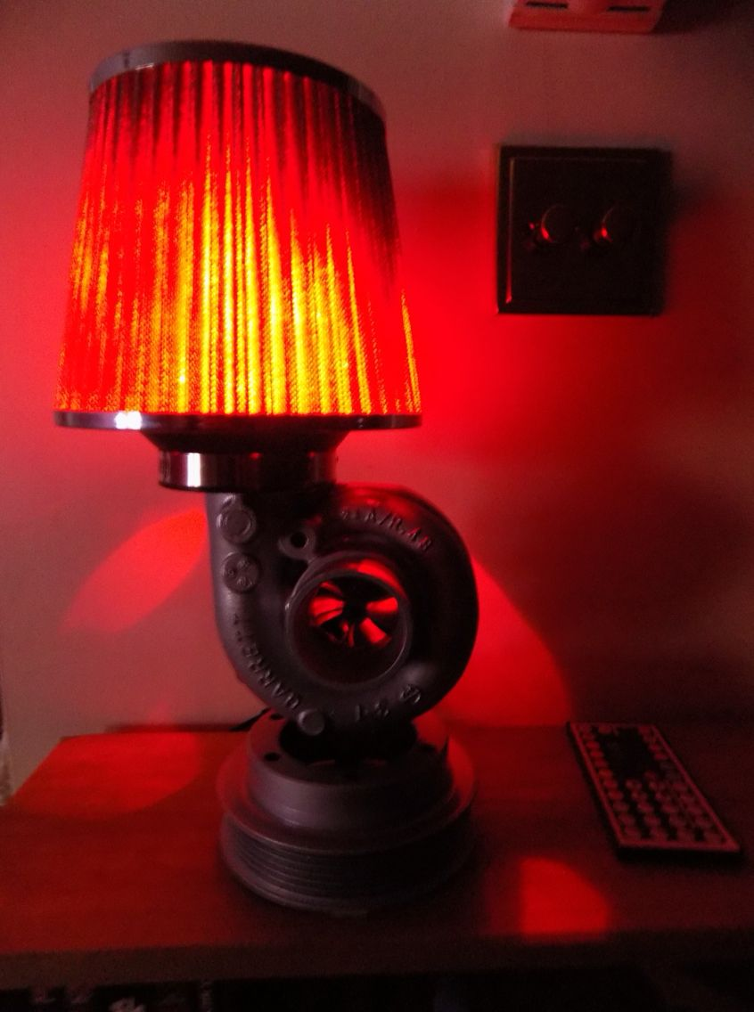 Garrett Turbocharger Lamp Fitted With Colour Changing Leds Ooooosh Automotive Decor Creative Lamps Car Part Furniture