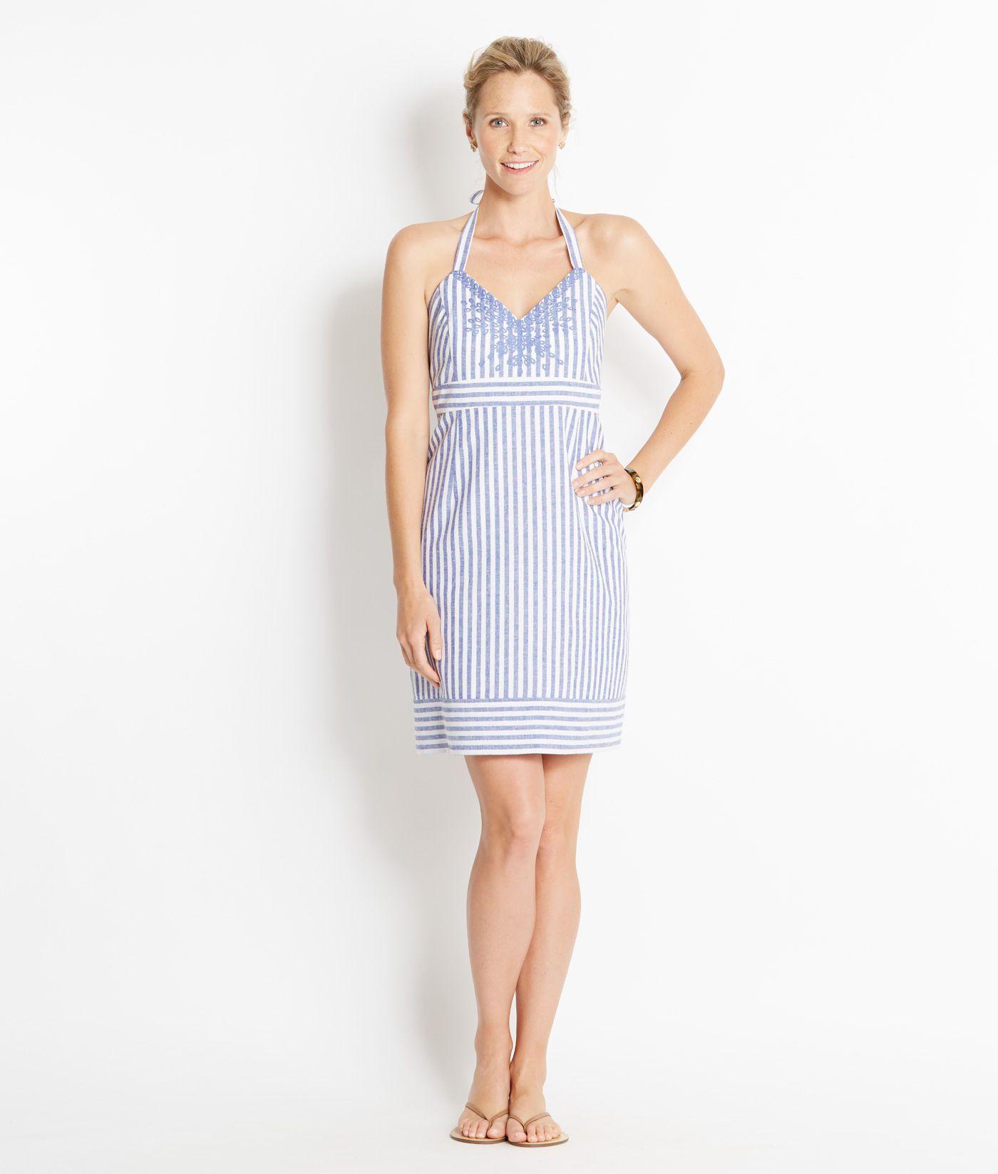 Shop Dresses Stripe Linen Halter Dress For Women Vineyard Vines [ 1646 x 1400 Pixel ]