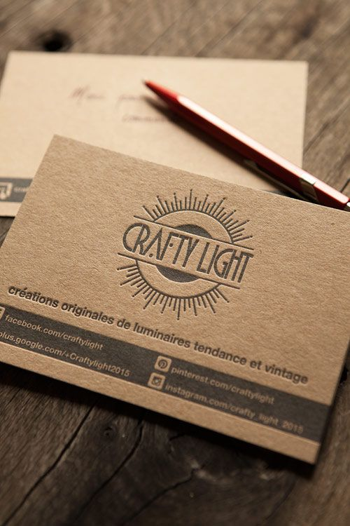 carte de correspondance sur carton fran u00e7ais coleur sable kraft   letterpress correspondence cards