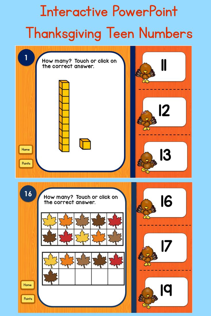 Thanksgiving Teen Numbers Tens Blocks and Ten Frames PowerPoint ...