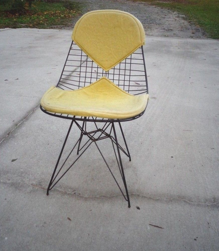 Eames Mid Century Danish Modern Wire Eiffel Tower Chair, Herman ...