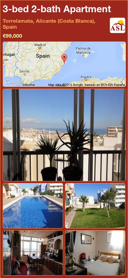 3-bed 2-bath Apartment in Torrelamata, Alicante (Costa Blanca), Spain ►€99,000 #PropertyForSaleInSpain