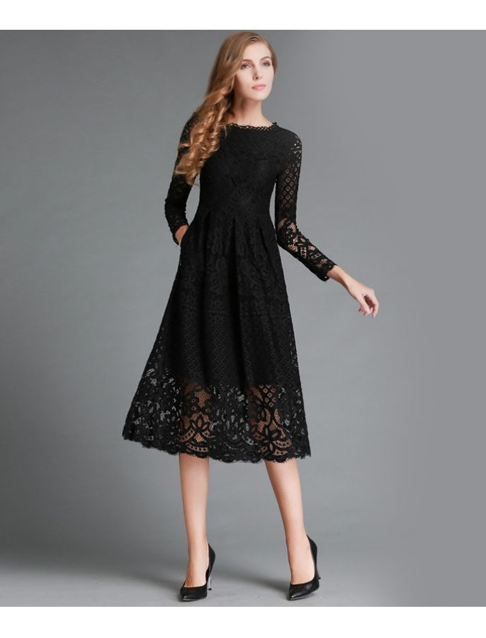 Retro Lace Long Sleeves Formal Dress
