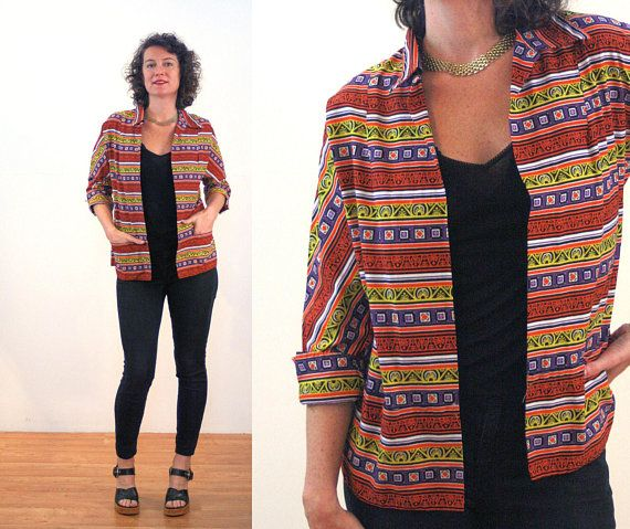 60a83dc2f97 50s Striped Beach Jacket M