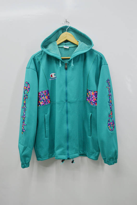 0473935a370c CHAMPION Track Top Vintage 90 s Champion Products Big Logo Spell Out  Multicolor Made In Japan Track Top Zipper Jacket Sweater Size Jaspo L