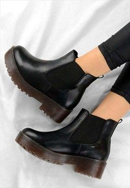 RUBY Chelsea Low Heel Chunky Ankle Biker Style Boots Black | Shoes ...
