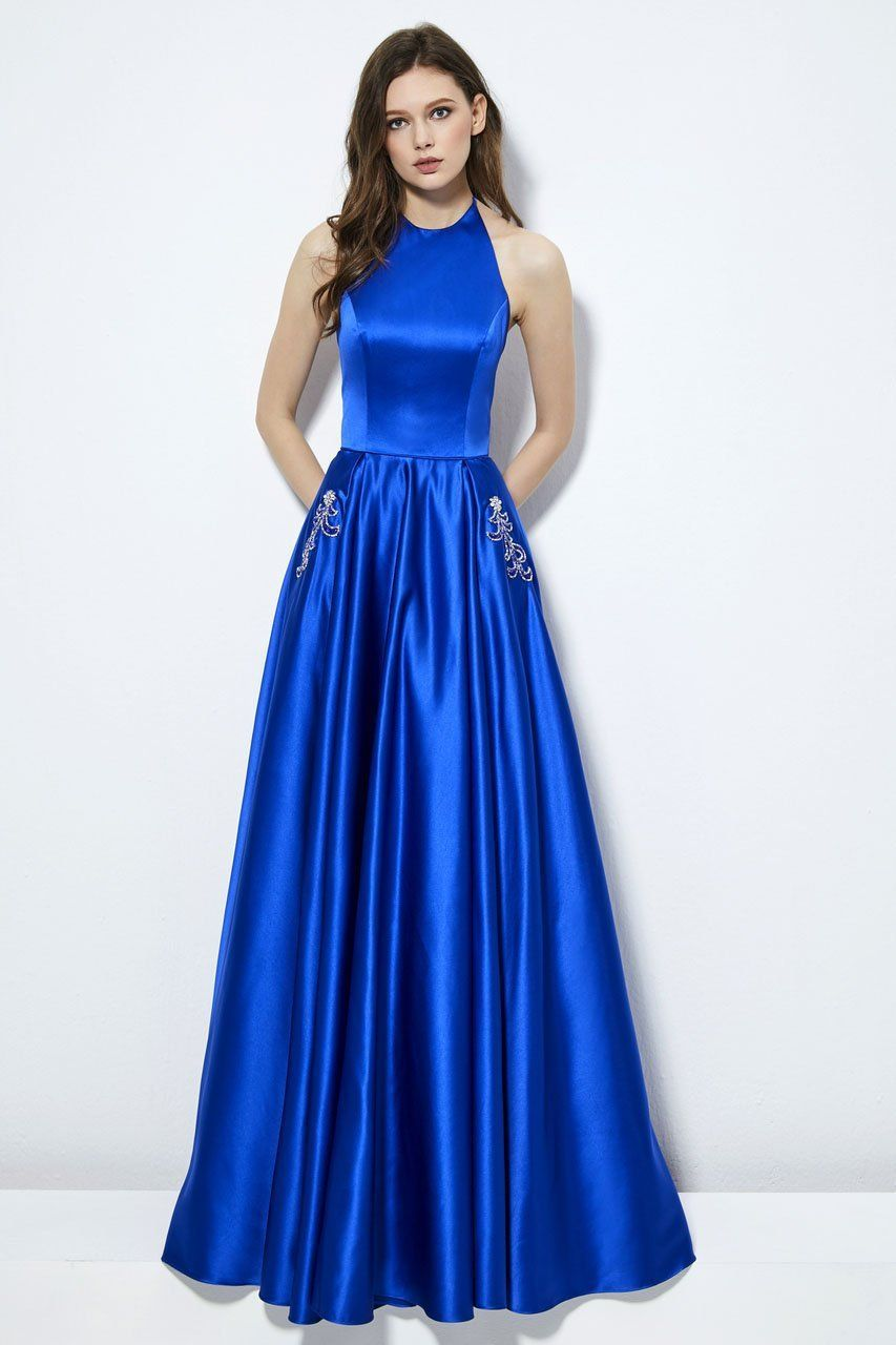 Angela alison 81149 high halter neckline aline gown
