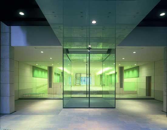 Green Glass Door With Glass