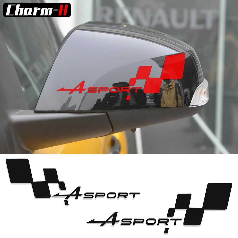 2pcs Reflective Side Rear View Mirror Vinyl Decal For Renault Clio