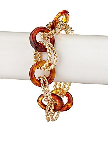 Kenneth Jay Lane Gold & Tortoise Toggle Bracelet
