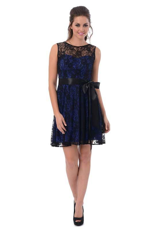 Junior plus size party dress in royal blue and black - short semi ...