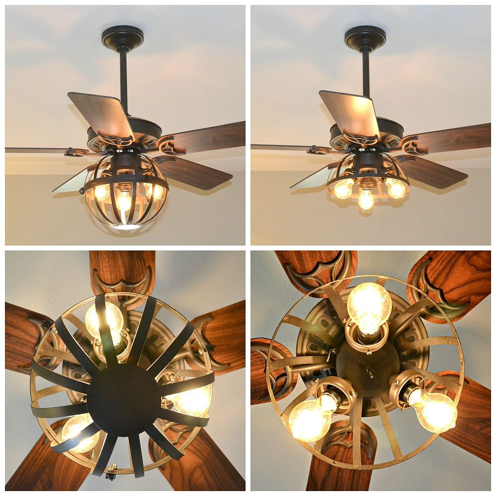 Diy Industrial Ceiling Fan With Garden Planter Cage Lights