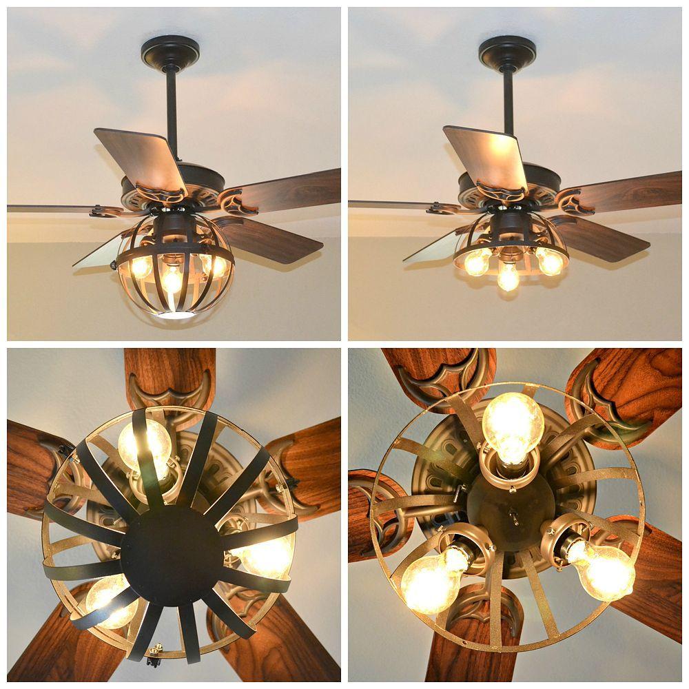Diy industrial ceiling fan with garden planter cage lights diy industrial ceiling fan with garden planter cage lights arubaitofo Images