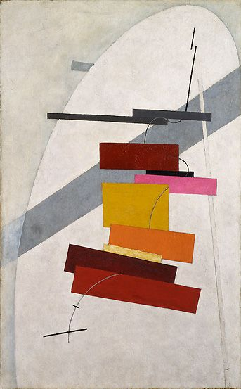 El Lissitzky, Untitled, ca. 1919–20. was a Russian artist, designer, photographer, typographer, polemicist and architect. He was an important figure of the Russian avant garde, helping develop suprematism with his mentor, Kazimir Malevich, and designing numerous exhibition displays and propaganda works for the former Soviet Union. His work greatly influenced the Bauhaus and constructivist movements