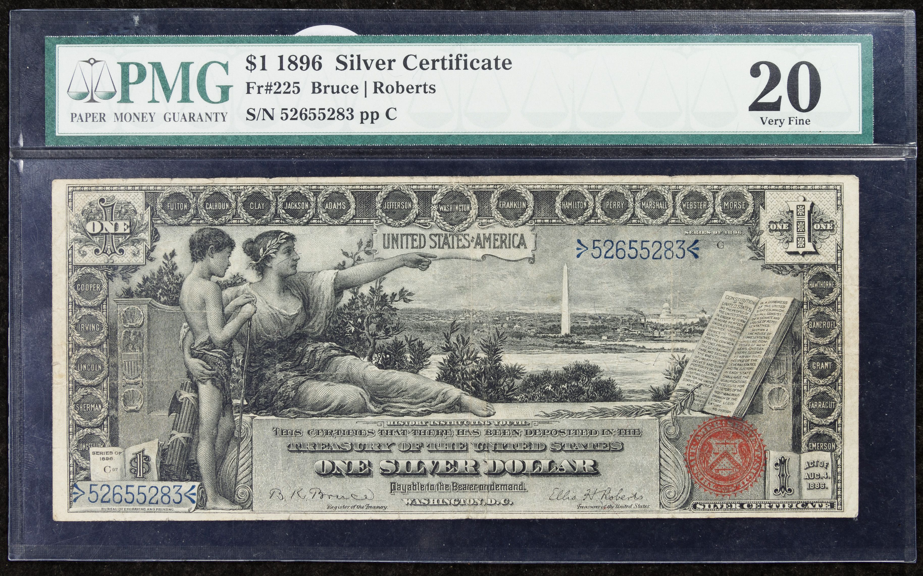 """Lot 13: 1896 $1 """"Educational"""" Silver Certificate VF-20 PMG; FR# 225"""