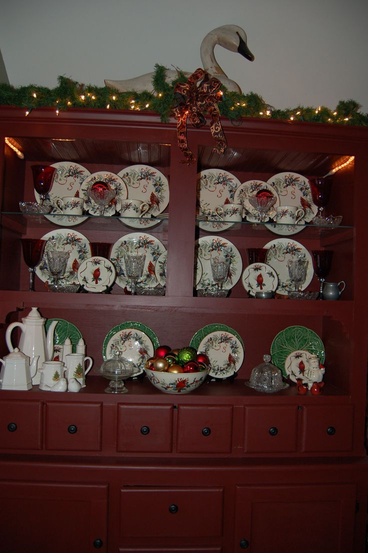 Lenox winter greetings dishes in an original hutch painted with old lenox winter greetings dishes in an original hutch painted with old village new england red m4hsunfo
