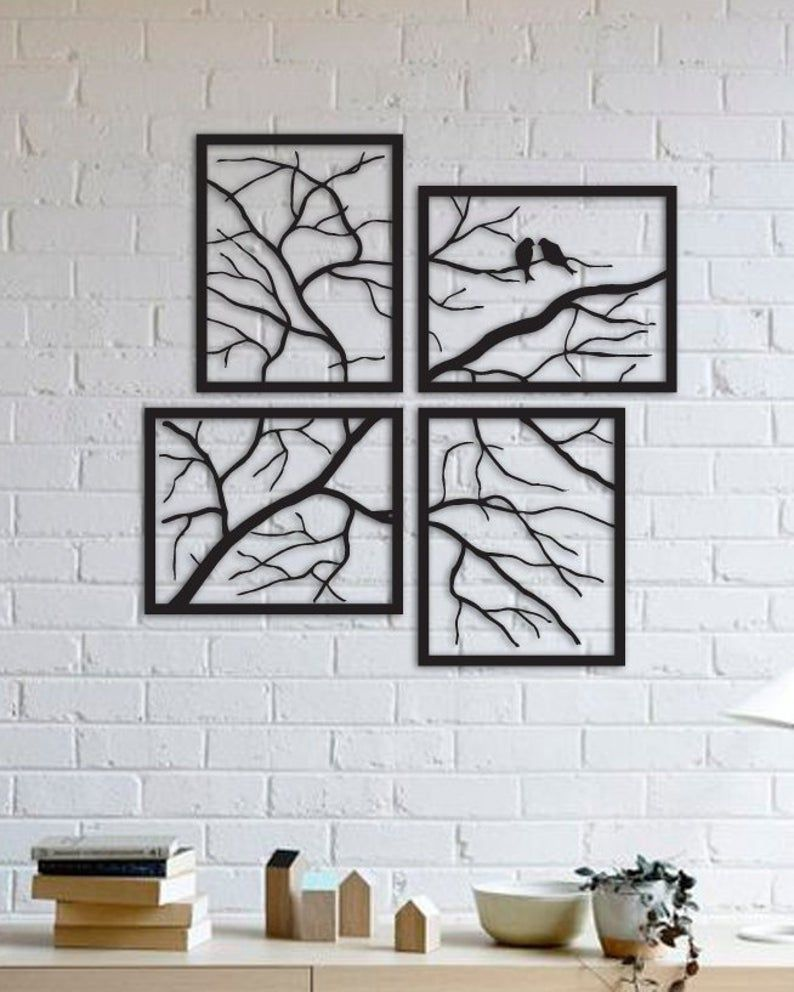 Tree Branches with Lovely Birds, 20 Pieces Metal Wall Art ...