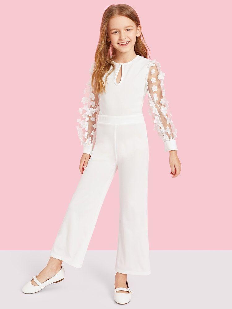 Girls Applique Mesh Sleeve Keyhole Front Jumpsuit #casualjumpsuit
