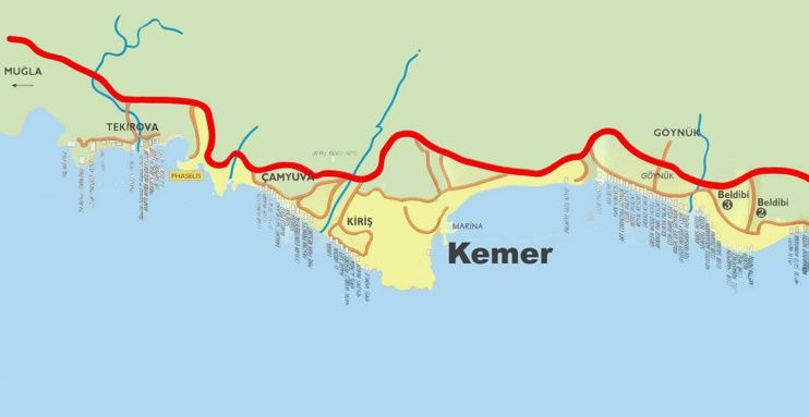 Kemer area hotel map Maps Pinterest Kemer and City