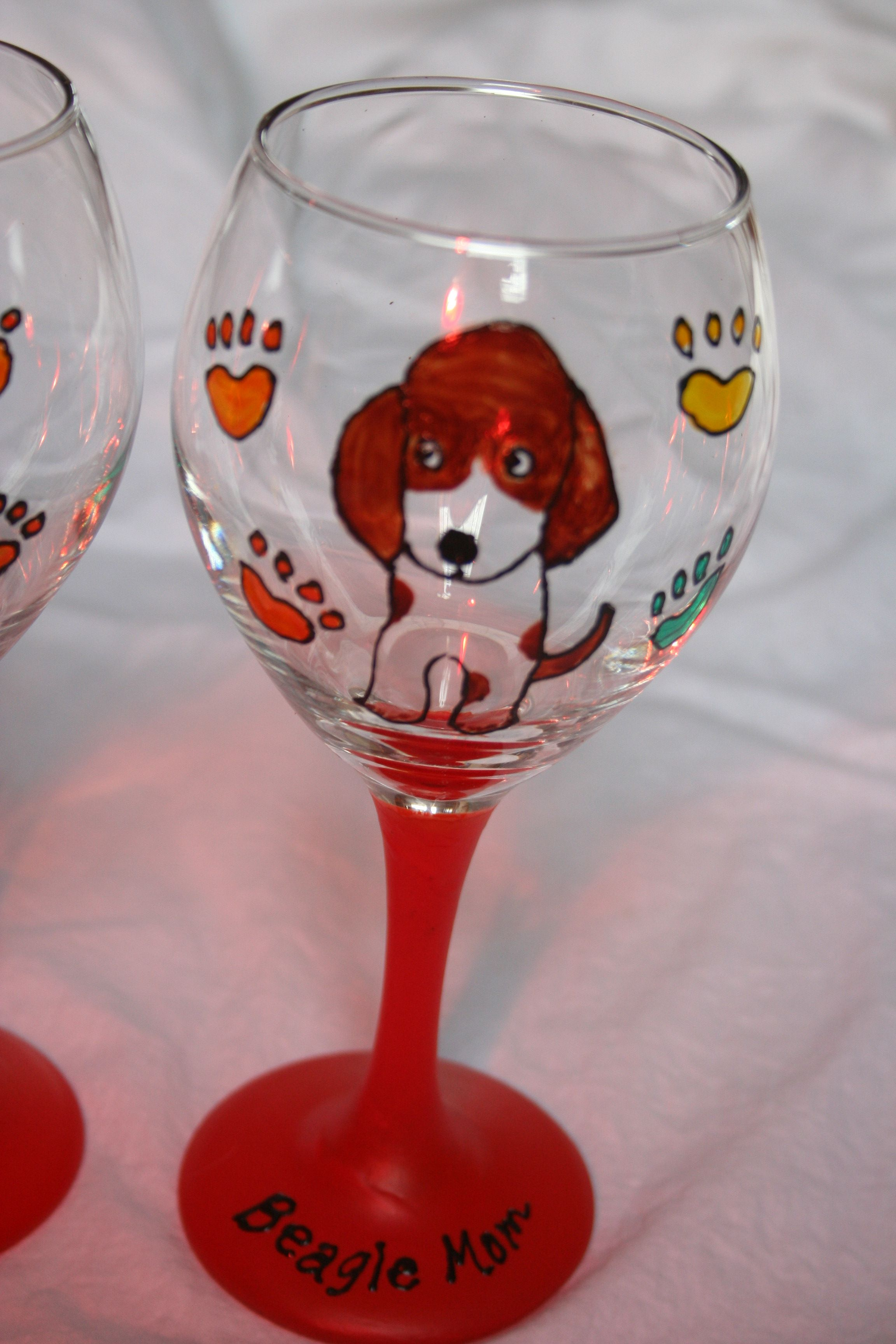 Pink Fig Creations Painted Wine Glasses Glass Painting Crafty Diy