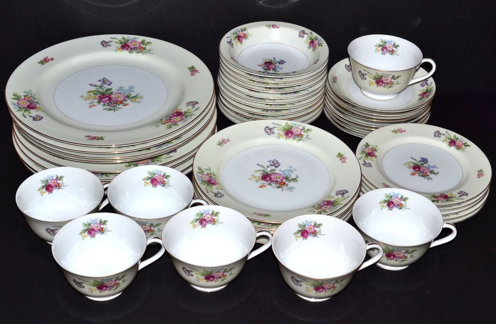 Kyoto ~ Dresrose ~ 44-Pc China Dinnerware Set KC-05267 Removed & vintage dinnerware sets | KC-05267.1L.jpg | DINNERWARE SET ...