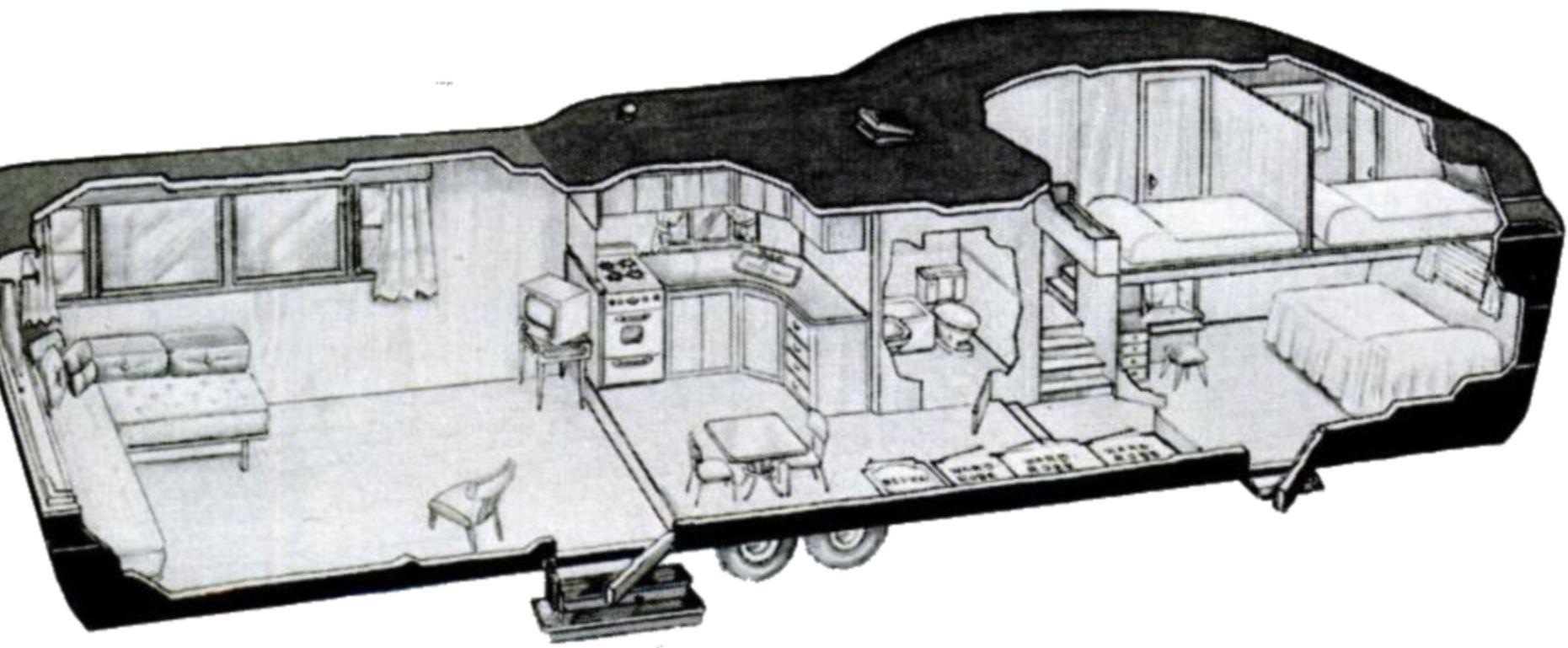 Two Story Trailer Cutway, 1952 Travel trailer floor