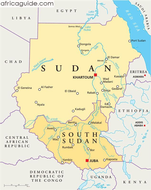 Sudan And South Sudan Map With Capitals Khartoum And Juba The