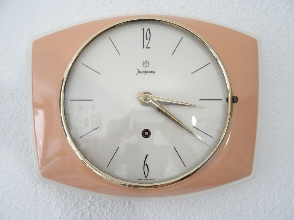 junghans pink retro vintage ceramic kitchen german wall on watchman on the wall calvin id=23976