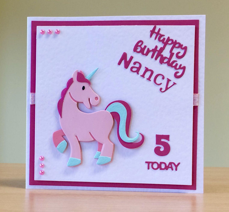 Birthday Card, Handmade Marianne unicorn die. For more