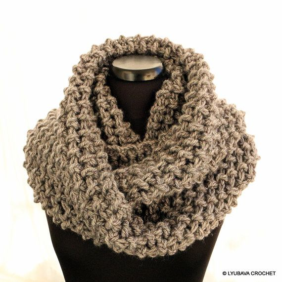 Crochet Infinity Scarf Circle Scarf Winter Scarf Unisex Grey