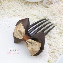 Handmade bow hair accessory hair accessory comb insert comb coffee hair maker