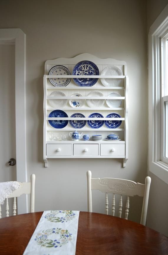 White Dish Rack Wall Plate Display Wooden Plate Rack Wall