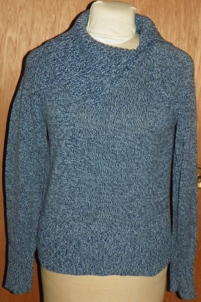 Villager by Liz Claiborne Blue Cotton Cowl Neck Sweater Women's ...
