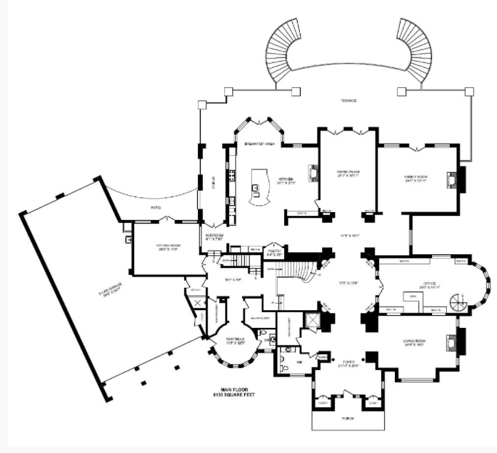 Main First Level Plan 22 000 Square Foot Brick Stone Mansion In Ontario Canada Homes Of The Rich Stone Mansion Brick And Stone Vintage House Plans