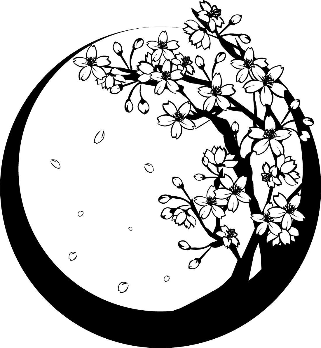 白黒の桜の木和フレーム無料イラスト 春 素材good 桜 デザイン イラスト 桜 イラスト デザイン 花 イラスト