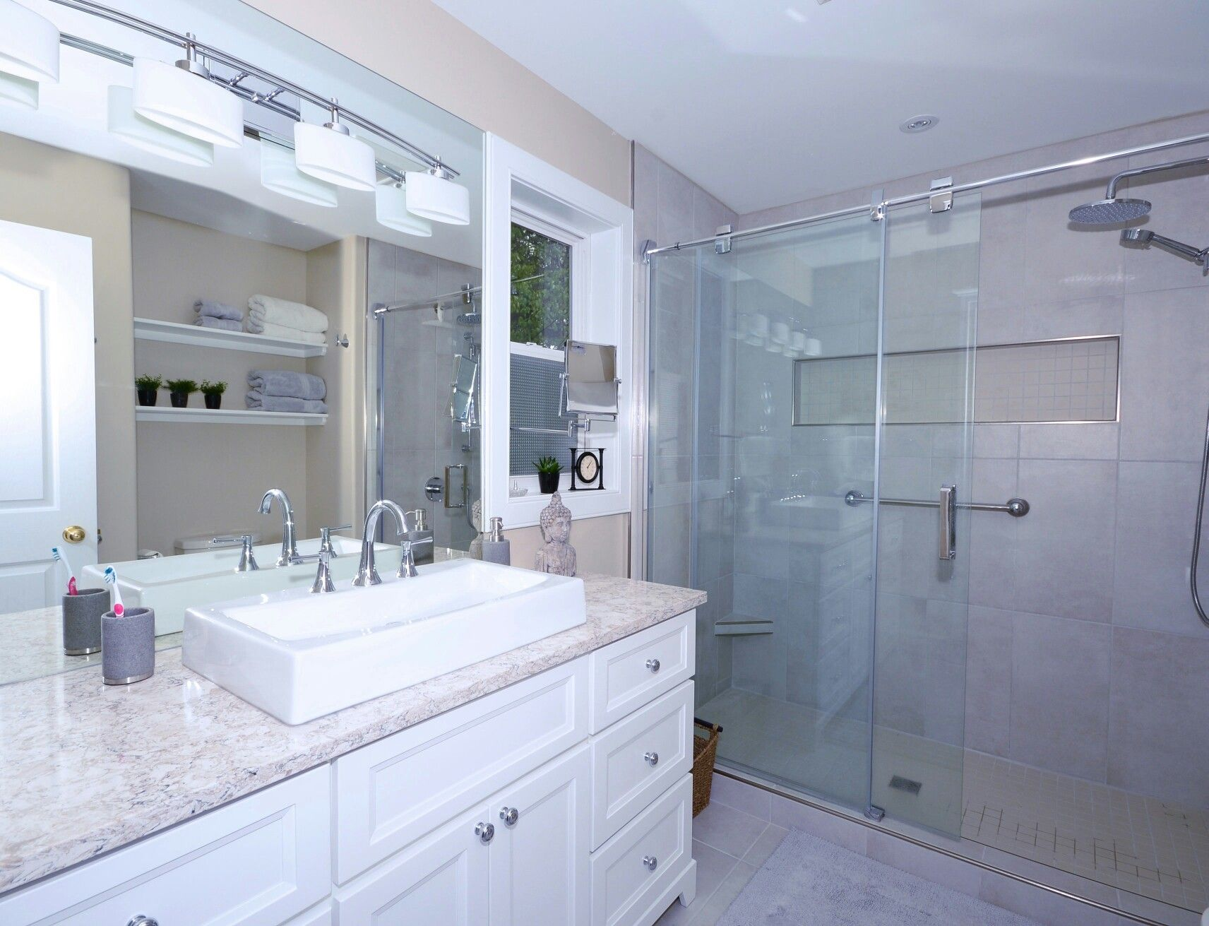 Gleaming whites made this bathroom remodel sparkle with elegance ...