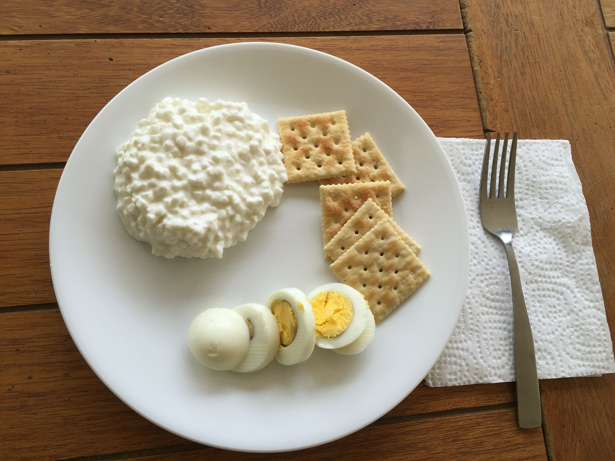 Charming 2nd Day Lunch 1 Cup Of Cottage Cheese, 1 Hardboiled Egg, 5 Saltine Crackers