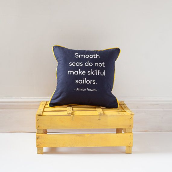 African proverb SAILOR cushion with contrast por BespokeBinny