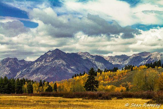 Mountain Scenery, Landscape Photography, 8 x 10 Print, Rocky Mountains, Fall Colors, Shadows, Autumn, Orange, Yellow, Gold, Mountain Art