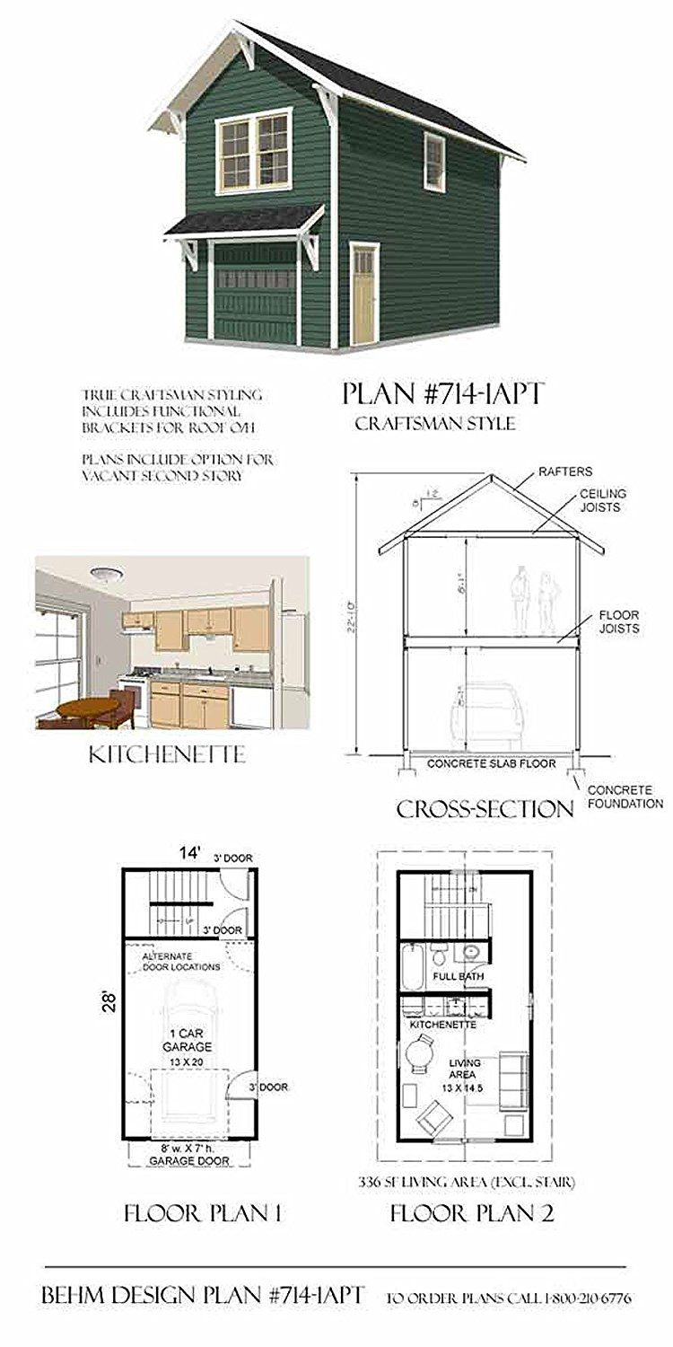 Garage Plans Craftsman Style One Car Two Story Garage With