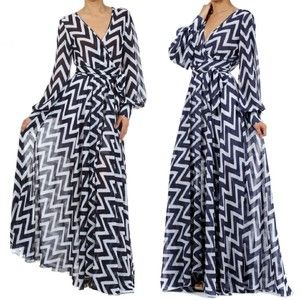 Details about FULL SWEEP Chiffon MAXI DRESS Wrap SHEER Long Sleeve ...