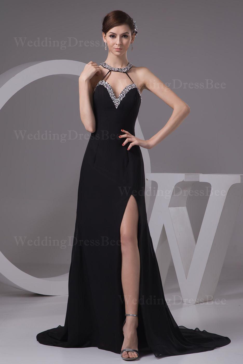 Elegant haltered floor length chiffon dress with beading flip