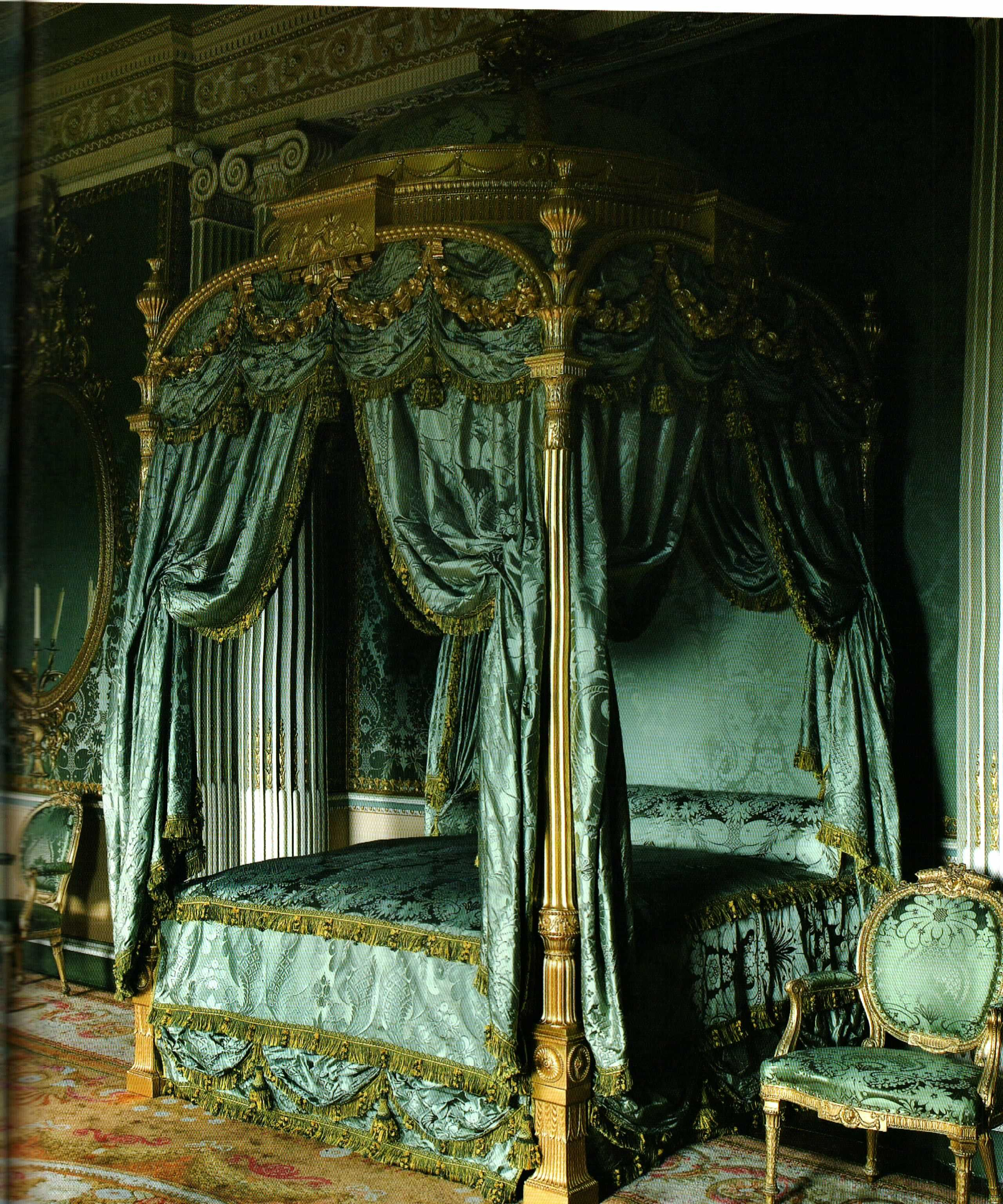 Damask bedroom curtains - The Harewood House Chippendale Bed Humphries Weaving Recreated Silk Damask Bed Drapes Silk