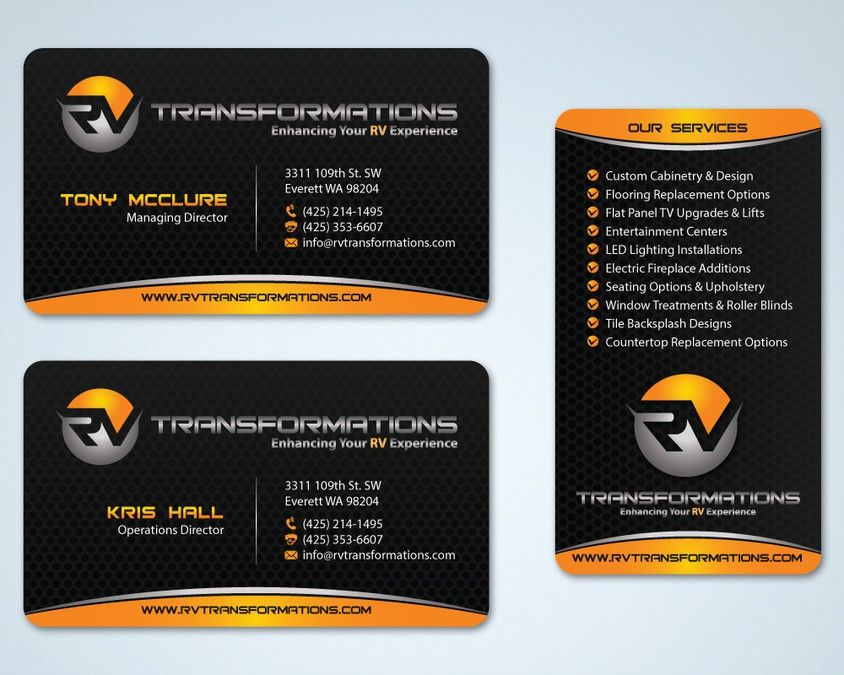 Create an exciting business card design for a new RV renovation ...