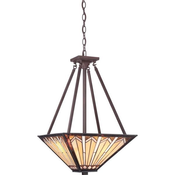 Cambridge 3-Light Russet Finish Pendant With A Tiffany-style Shade
