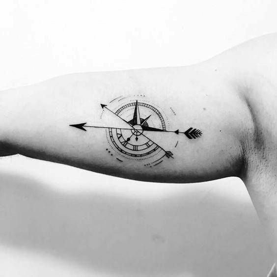 4b28a5712 Guys Small Compass Tattoos On Inner Arm Bicep #Geometrictattoos ...