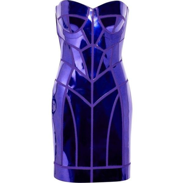 Versace Metallic patent-leather paneled mini dress ❤ liked on Polyvore featuring dresses, blue strapless cocktail dress, strapless sweetheart dress, blue strapless dress, versace dress and mini dress
