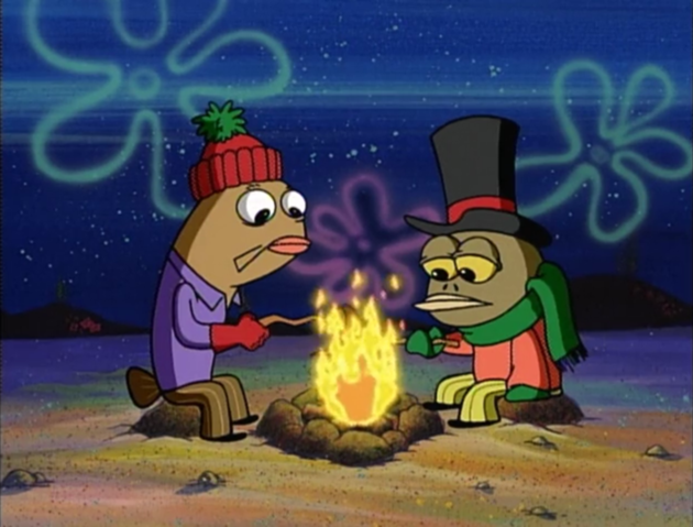 SpongeBob and Patrick: ♪Chestnuts roasting and burns in the third degree! ♪